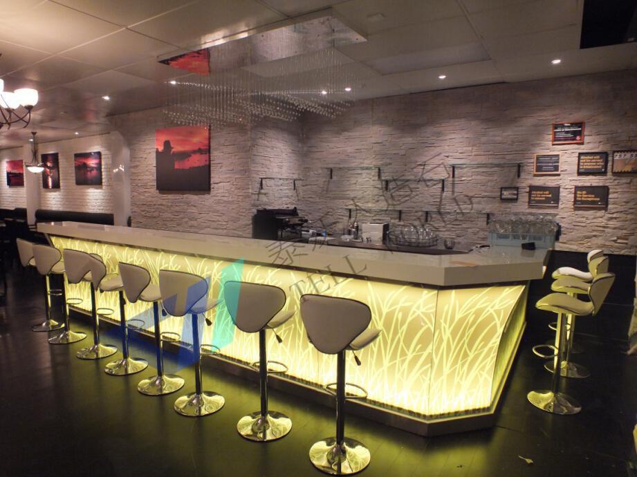Led glass bar counter design cafe bar counter design for Commercial wine bar design ideas