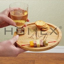 Party Serving Plate With Wine Glass Holder/Homex_FSC/BSCI