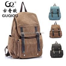 2015 New Luxurious Waxed canvas leather backpack bag