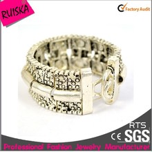 Modern Elements Antique Silver Inlay Seed Beads Bracelet Bangles