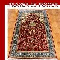 3x5ft Red natural silk for adult HANDMADE prayer carpet