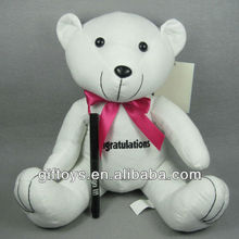 Lovely White Stuffed Teddy Bear with Signature Pen