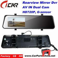 """Hot selling!!4.3""""LCD car automatic Reversing AV IN 2 Lens rearview mirror for Toyota prado"""