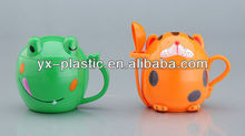 plastic frog shape mug with handle and lid for children