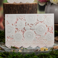 luxury Laser Cut Wedding Invitation Card with Embossed Flower cw5118