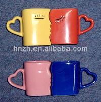 10OZ unique shape face bowl creative ceramic couple mug and cup