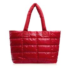 Women Large Handbag 2015 Autumn Winter Down Coat Bag Cotton-padded Jacket Shoulder Bag Candy Color Fashion Female Space Hand Bag