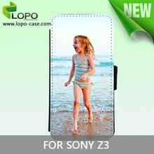 Best price sublimation leather flip cover case for Sony Z3 from LOPO