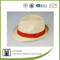 BSCI Audit red rope striped plain dyed grass bowler straw hat blank