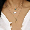 Fashion gold long chain necklace horseshoe layer necklace turquoise beaded necklace