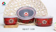 Red color ceramic fresh bowl three sizes ceramic bowl with silicon lid