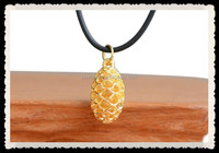 Jewelry Necklace , 24KT Gold Dipped Miniature Pine Cone Pendant Charm Handmade NCKLACE