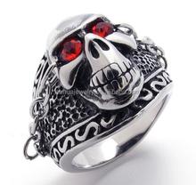 Wholesale stainless steel jewelry biker punk style male skull ring