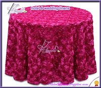 "fuschia dia-90""(229cm) round 3D rosette tablecloth in satin, rosette tablecloths"
