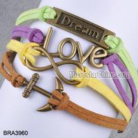 Antique colourful braid bracelet multi-strand wax cord and leather bracelet