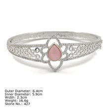 [ CZQ-0031 ] High Quality 925 Sterling Silver Bangle with CZ Stones Bangle Bracelet