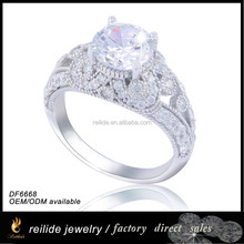925 sterling silver vogue wholesale zircon DF6668 engraved engagement ring