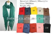 wholesale winter fashion long plain dyed acrylic wool scarf