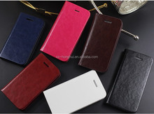 Brown color genuine flip stand wallet leather case for iphone 5, mobile cover HH-CPI506-12