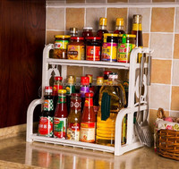2 layers plastic kitchen spice storage rack for sale