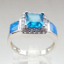 China, Fabricación de piedra de color anillo de topacio azul, anillo de plata con piedra de ópalo, joyería de moda DR01407270R