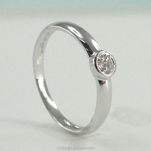Simple wedding jewelry women's solid white gold ring with brilliant cut diamond 0.04 carat