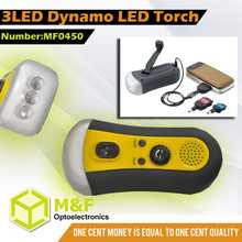 Wind Up LED Torch With Phone Charger Emergency Light With Radio Fm