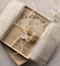Rustic Chic Vintage Burlap Theme Bridesmaid Invitations with Lace & Twine Box