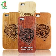 OWl Fine Carving Pattern Natural Wood Case For Iphone 5s Case