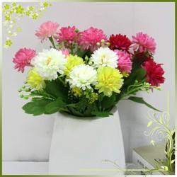Cheap wholesale artificial chrysanthemum silk fabric plastic flowers home decoration