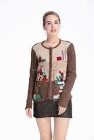 Unisex knitted Christmas Ugly sweaters zipped cardigan