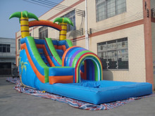 fashion design inflatable combo games, inflatable slide with water pool play station for amusement