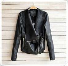 NEW Ladies Punk Zip Rivet Lapel Blazer Coat PU Leather Motorcycle Moto Jacket china