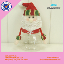 Wholesale custom Christmas Plush Santa Claus and snowman plastic Candy Jar