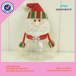 Wholesale custom Christmas Plush Santa Claus and snowman plastic Candy Jar