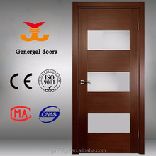 European style flush interior glass insert wood interior door