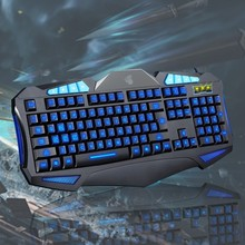 Ergonomic Backlight Back Light Professional Keyboard Wired USB 3 color LED Illuminated Pro Gaming Keyboard For Gamer
