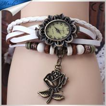 7colors Leather Vintage watch Wrist Rose Flower Leather watches quartz Colorful Wristwatch VW008