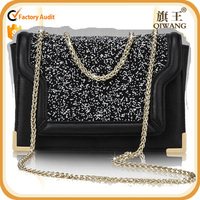 free shipping Glitter messenger bag leather satchel with long chain shoulder bag for women