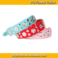 100pcs Wholesale Flowers Dog Collars Soft Leather Bling Flower Studded PU Collar Dogs Event Necklace Dress PC5010
