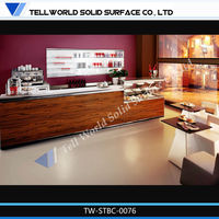 Top class elegant commercial wood veneer coffee shop counter design/ acrylic lighted bar counter top