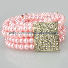 nueva llegada de la alta calidad de colores de diamantes de imitación de la perla y cinturones