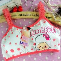 122 export Indian children underwear nipple young ladies colored bra extenders in pure cotton cartoon girl's bra panty set sizes