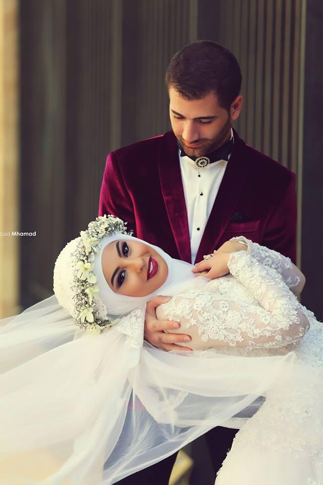 2015 dernières manches longues en dentelle amovible Train robes de mariage musulman Hijab