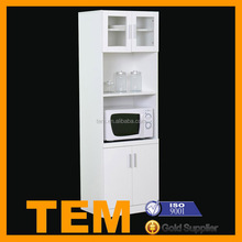 Multi Functional White Colored Microwave Oven Cabinet