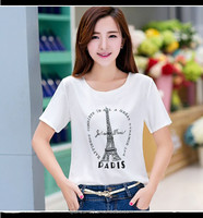 Wholesale collar t shirt design custom soft women white cotton tshirt 2015