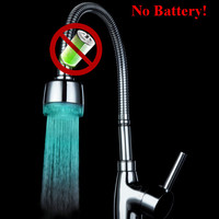 Water powered single color changing LED faucet light for unique gift