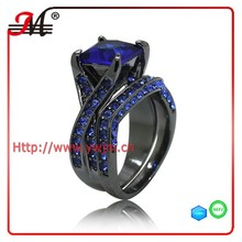 R7589 fashion black gold plated blue sapphire cz and zircon ring blue sapphire ring