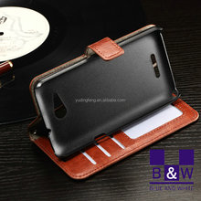 Luxury slim wallet pu leather flip stand holster phone cover flip case for sony xperia e4g
