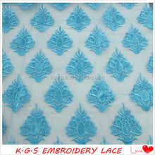New arrival China blue embroidery tulle lace fabric